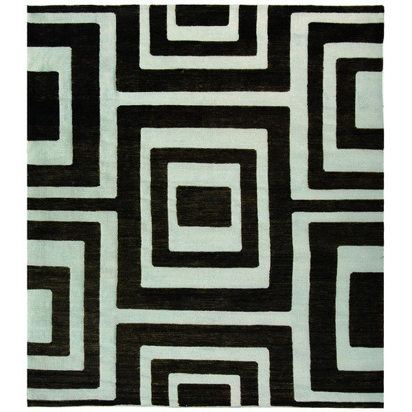 Safavieh Hand-knotted Santa Fe Modern Abstract Silver/ Black Wool Rug - 9' x 12'