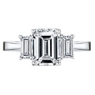 Platinum Certified 2 1/ 2ct TDW Emerald-cut Diamond 3-stone Engagement Ring