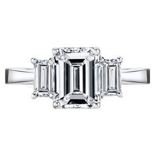 Platinum Certified 2 1/ 2ct TDW Emerald-cut Diamond 3-stone Engagement Ring