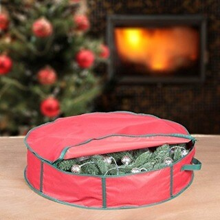 Hold N Storage Holiday 30-inch Christmas Wreath Storage Bag with Handles and Zipper