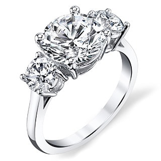Platinum 2 3/4ct TDW Three-stone Certified Round Diamond Engagement Ring