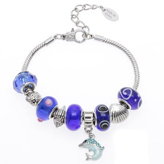 La Preciosa Silvertone Crystal and Glass Dolphin Charm Bracelet
