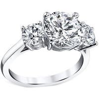 Platinum Certified 3ct TDW Round Three Stone Diamond Ring