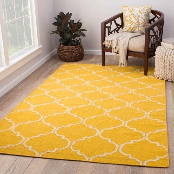 Lark Handmade Trellis Yellow/ White Area Rug (8' X 10') - 8' x 10'