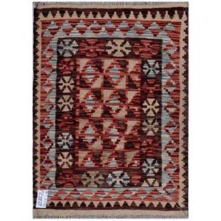 Herat Oriental Afghan Hand-woven Kilim Red/ Brown Wool Rug (2'6 x 3'3)