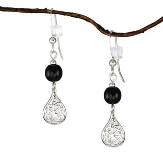 Jewelry by Dawn Sterling Silver Black Glass Filigree Teardrop Earrings