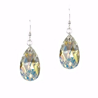 Jewelry by Dawn Large Aurora Borealis Crystal Pear Sterling Silver Earrings