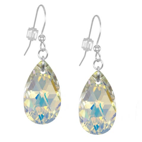 Handmade Jewelry by Dawn Large Aurora Borealis Crystal Pear Sterling Silver Earrings (USA)