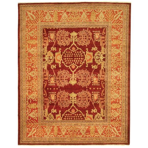 Safavieh Hand-knotted Peshawar Vegetable Dye Burgundy/ Bronze Wool Rug - 8' x 10'