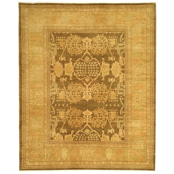 Safavieh Hand-knotted Peshawar Vegetable Dye Brown/ Olive Wool Rug - 8' x 10'