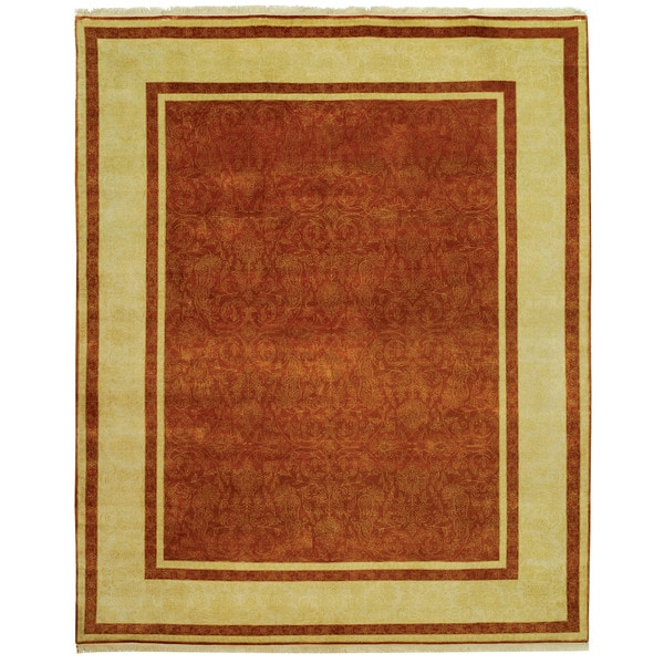 Safavieh Hand-knotted Ganges River Rust/ Ivory Wool Rug - 9' x 12'