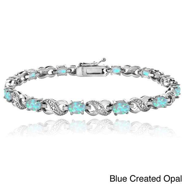 Glitzy Rocks Silver-Tone Created Opal and Diamond Accent Infinity Bracelet