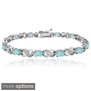 Glitzy Rocks Silver-Tone Created Opal and Diamond Accent Infinity Bracelet
