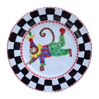 'Monkey Business' Checked Border Red Rim Decorative Plate (Italy)