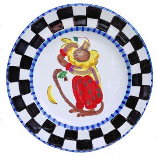 'Monkey Business' Checked Border and Blue Rim Decorative Plate (Italy)