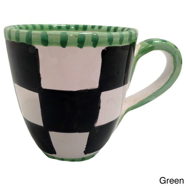 Handmade Black/ White Checkered Mug (Italy)