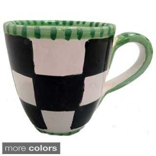 Hand-painted Black/ White Checkered Mug (Italy)