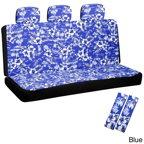 Oxgord Hawaiian Flower 60/40 Split Bench 8-piece Seat Cover Set