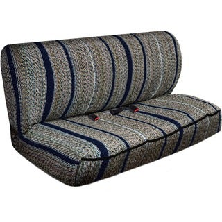 Saddle Blanket Striped Universal 2-piece Bench Seat Cover Set with Front Storage Pockets