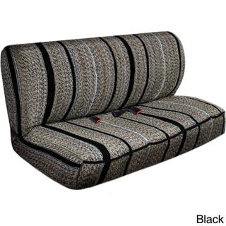 Saddle Blanket Striped Universal 2 Piece Bench Seat Cover Set Option Black