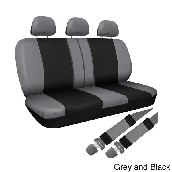 For Ford New Flat Cloth Black and Pink Front and Rear Car Seat Covers Set