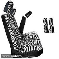 Oxgord Zebra Tiger Striped 60 40 Split Bench 8 Piece Seat Cover Set