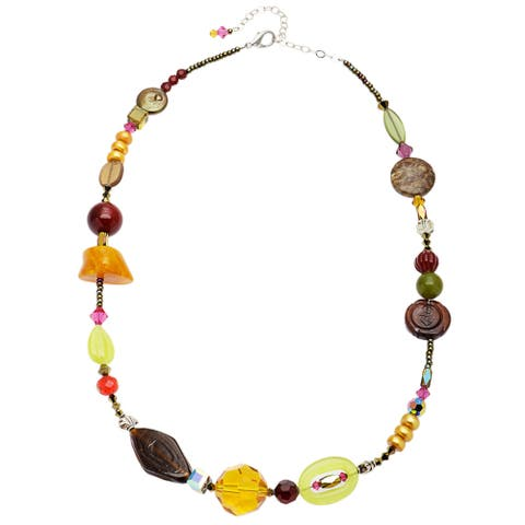 Sterling Silver Multi-colored 'Jewel's Eye' Crystal and Freshwater Pearl Necklace
