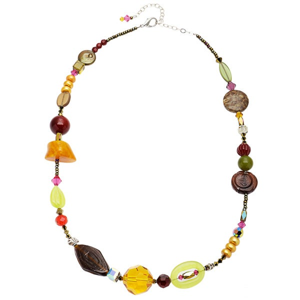 18 Silvertone Eye Chart Bicone Crystal Necklace