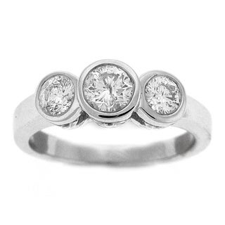 Beverly Hills Charm 14k White Gold 1/2ct TDW Bezel Three-Stone Ring
