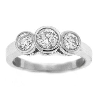 14k White Gold 1/2ct TDW Bezel Three-Stone Ring