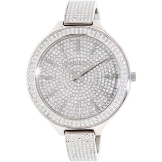 Michael Kors Women's MK3250 'Slim Runway' Silvertone Glitz Bangle Watch