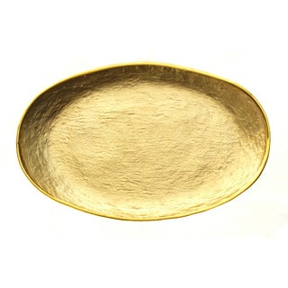 Glamour Gold Leaf Oval Handcrafted Decorated Glass 8.5 x 5.5-inch Tray