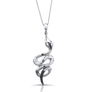 Victoria Kay Sterling Silver 1/6ct TDW Black Diamond Coiled Snake Diamond Necklace