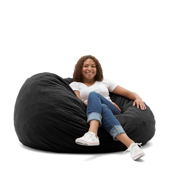 FufSack 4 Foot Large Memory Foam/ Microfiber Bean Bag Chair   Free Shipping  Today   Overstock.com   16076148