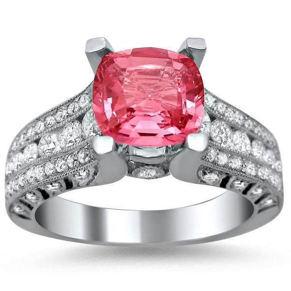 Noori 18k White Gold 1 1/10ct TDW Diamond and Cushion-cut Pink Sapphire Engagement Ring