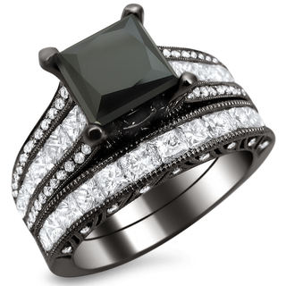 Noori 18k Black Gold 4 3/4ct TDW Black Princess Cut Diamond Bridal Set