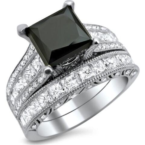 Noori 18k White Gold 4 3/4ct TDW Black and White Princess-cut Diamond Engagement Ring Bridal Set