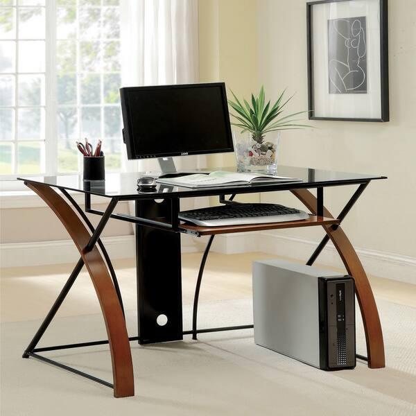 Sirga Oak and Black Glass Modern Computer Desk by FOA