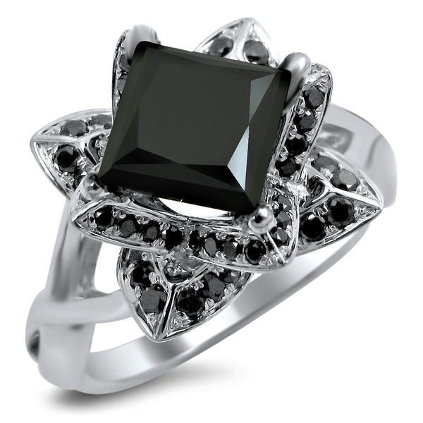 noori 14k white gold 2ct tdw black diamond lotus engagement ring - Lotus Wedding Ring