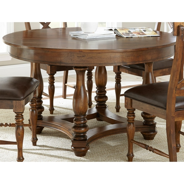 Greyson living wyatt 54 inch round weathered brown dining for Greyson dining table