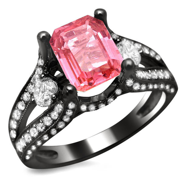 Noori 18k Black Gold 2 3/4ct TGW Emerald-cut Pink Sapphire and Round Diamond Engagement Ring (E-F, VS1-VS2