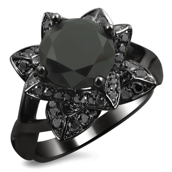 Noori 14k Black Gold 2 1/3ct TDW Black Diamond Lotus Engagement ring, 14k black rhodium-plated gol