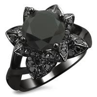 Noori 14k Black Gold 2 1/3ct TDW Black Diamond Lotus Engagement ring, 14k black rhodium-plated gol