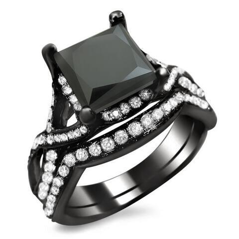 18k Black Gold 2 3/4ct TDW Black Princess-cut Diamond Bridal Set