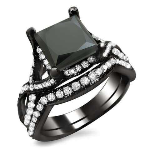 18k Black Gold 2 3/4ct TDW Black Princess-cut Diamond Bridal Set
