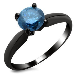 Noori 14k Black Gold 3/4ct TDW Blue Solitaire Diamond Ring