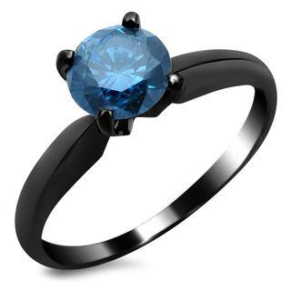 Noori 14k Black Gold 3/4ct TDW Blue Solitaire Diamond Ring