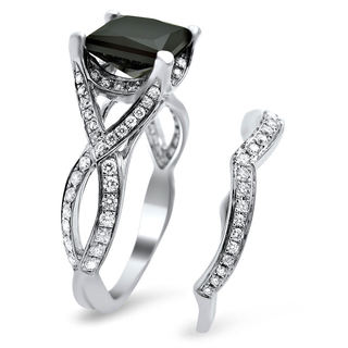 Noori 18k White Gold 2 3/4ct TDW Black Princess-cut Diamond Bridal Set