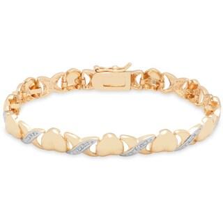 Finesque 18K Yellow Gold Overlay Diamond Accent 'XOXO' Bracelet