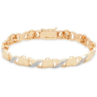 Finesque 18K Yellow Gold Overlay Diamond Accent 'XOXO' Bracelet